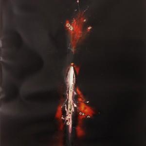 """Black-Flame"", 2014, ca. 230x127cm, Rocketogram / Color-Photogram, unique"
