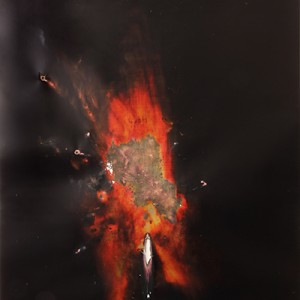 """HOT"", 2014, ca. 230x127cm, Rocketogram / Color-Photogram, unique"