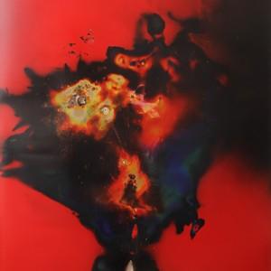 """Mirageony"", 2014, ca. 230x127cm, Rocketogram / Color-Photogram, unique"