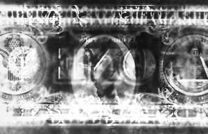 """one dollar"", 2007, ca. 6,5x15,5cm, B/W Photogram, unique"