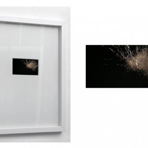 """Imploexploding Nimbus"", 2015, Full HD video-loop, no sound, 6x10,5 cm retina dispaly in objectframe, dimension variable"