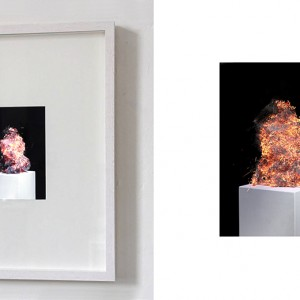 """Study of a notion no.1"", Full HD Video, loop, no sound, left picture: Video on 19,5 x 14,5 cm display in object frame"